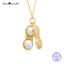 Shipei 100% 925 Sterling Silver Fine Jewelry Yellow Gold Yellow Gold Peanut Pearl Pendant Necklace for Women Birthday Gift fenasy 18k yellow gold pendant pearl jewelry au750 gold sqare pendant for lovers pearl pendants send with 925 silver necklace