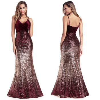 Sequined Evening Dress Shining Mermaid Women Party Gowns R193 Sexy V-Neck Robe De Soiree Spaghetti Strap Formal Long Vestidos