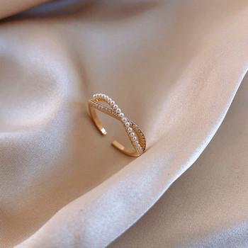 2020 południowokoreańska nowa krzyżowa opaski na głowę z kokardką i perełką pierścionek żeński moda Temperament osobowość regulowany otwór palec wskazujący tanie i dobre opinie countingStars Ze stopu cynku Kobiety Pearl Symulowane perłowej TRENDY Koktajl pierścień GEOMETRIC Wszystko kompatybilny