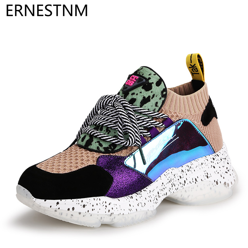 ERNESTNM 2019 Fashion Women's Sneakers 35-42 Slip On Platform Sneakers Horsehair Casual Shoes Breathable Soft Woman Chunky Shoes