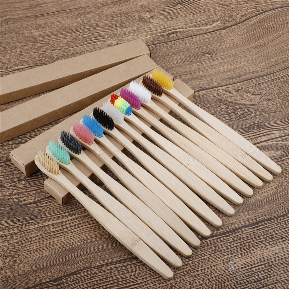 100 Pack Natural Bamboo Toothbrush Wood Toothbrushes Soft Bristles with travel Teeth brush case Eco-Friendly Oral Care Adults image