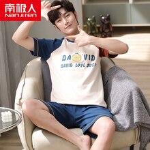 NANJIREN Mens Pajamas Set New Summer Home Casual Short Sleeves O-NECK Shirt Shorts Pajamas Set for Men Cartoon Sleepwear Set