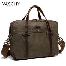 VASCHY Briefcase for Men Water Resistant Waxed Canvas Messenger Bag