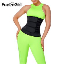 FeelinGirl 100% Latex Waist Trainer with Three Belts Sweat Belt for Women Weight Loss