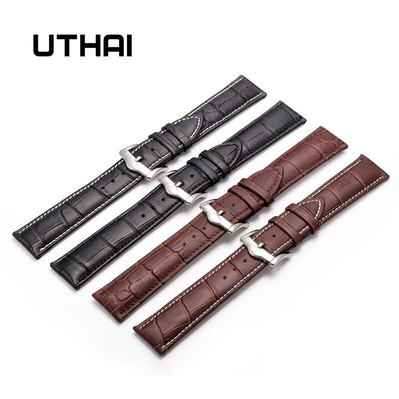UTHAI Z20 Leather Watchband Crocodile Pattern Strap 14mm 16mm 18mm 20mm 22mm 24mm Silver Metal Buckle Clasp Women Men Watch Band