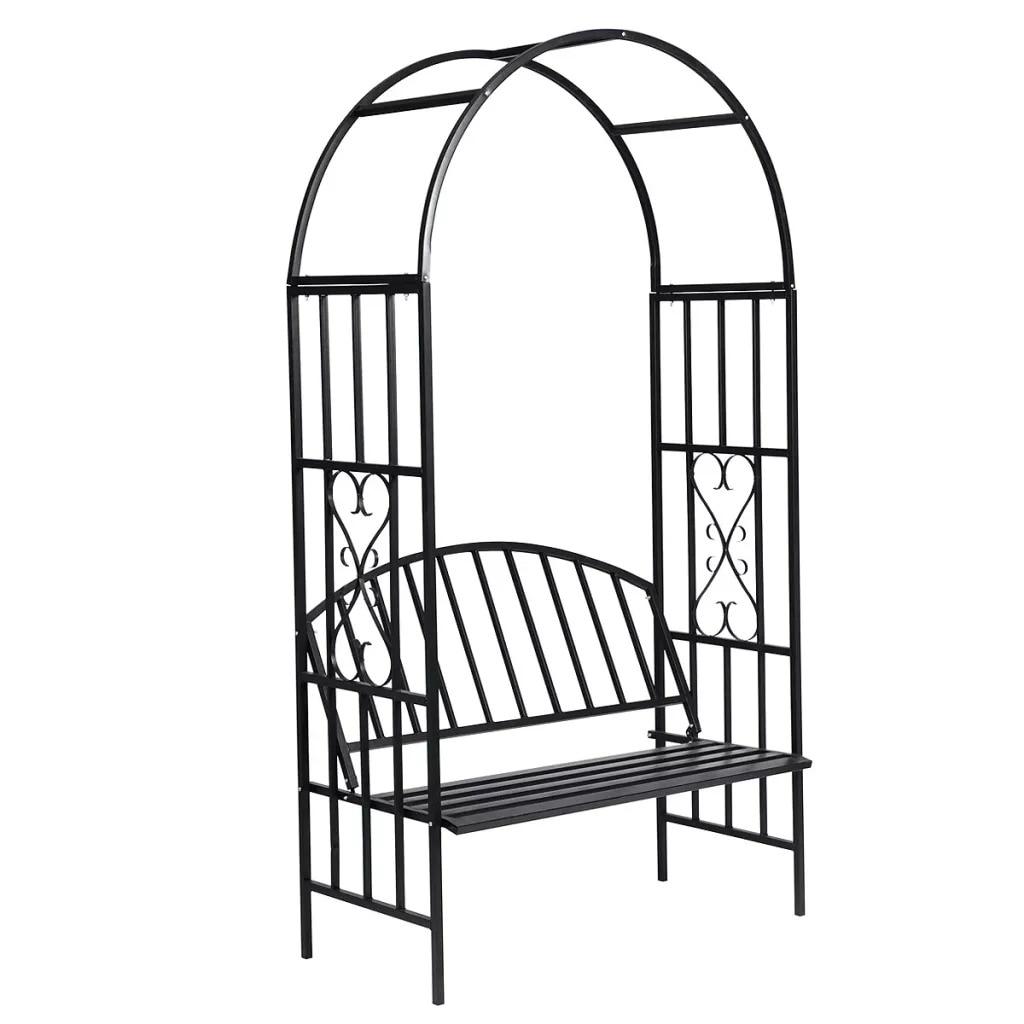 VidaXL Garden Rose Arch With Bench 114 X 57 X 210 Cm (L X W X H) High-Quality Resistant 1.063 Kg Maximum Weight Rose Arch