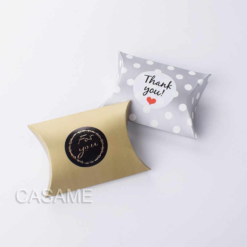 10 sztuk pudełko cukierków torba nowy papier typu kraft kształt poduszki pudełeczka na upominki weselne Pie Party torby przyjazne dla środowiska opakowania z papieru pakowego promocja