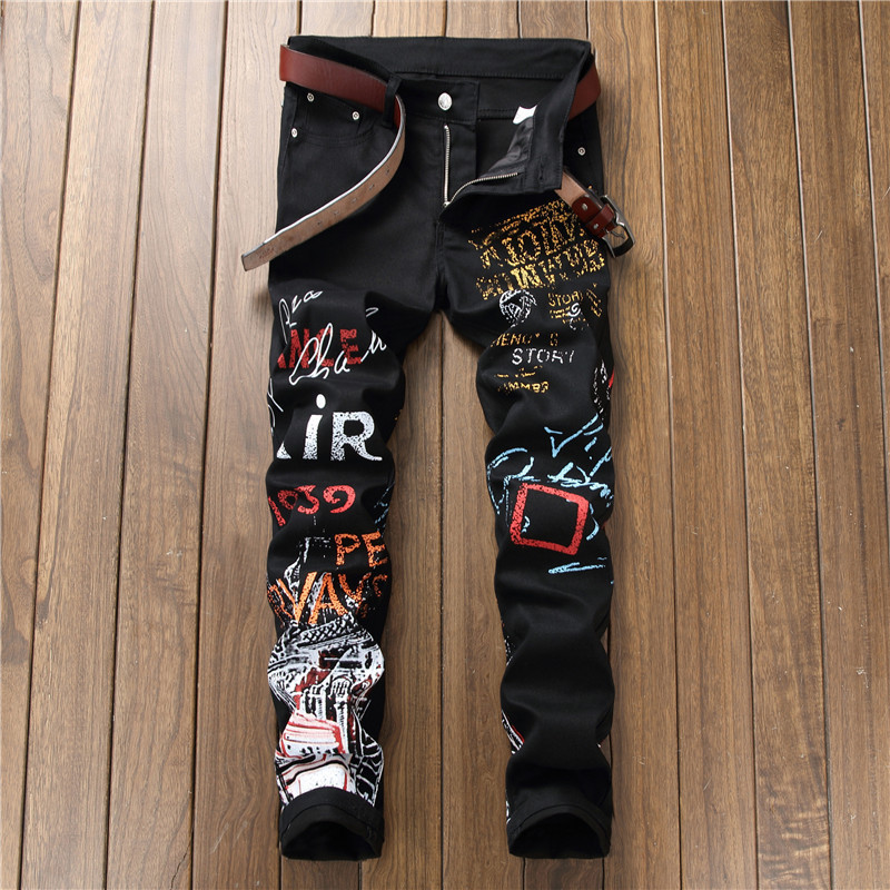 New Style Western Style Digital Print Pants Men's Slim Fit Flower Pants Fashion Elasticity Skinny Black And White With Pattern C