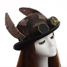 Стимпанк шляпа ретро заячьи уши патч Goggle Billycock Жених панк котелок Топ Шляпы Головной убор
