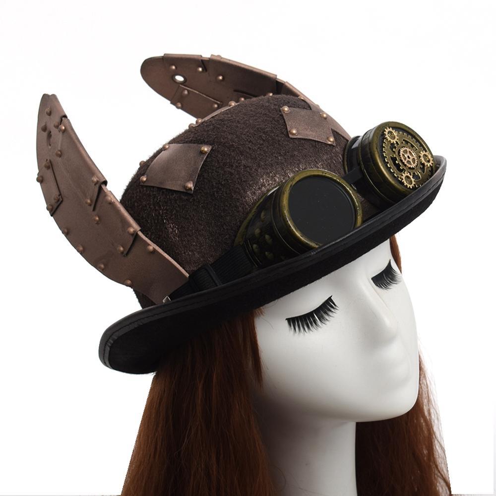 Steampunk-Hat-Retro-Rabbit-Ears-Patch-Goggle-Billycock-Groom-Punk-Bowler-Top-Hats-Head-wear