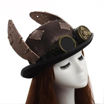 Steampunk-Hat-Retro-Rabbit-Ears-Patch-Goggle-Billycock-Groom-Punk-Bowler-Top-Hats-Head-wear