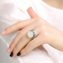 Silver Jewelry Charm Adjustable-Ring Opening Women's Hetian Yutai Money-Bag Hollow-Craft