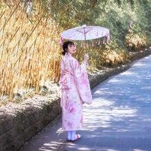 Japonês tradicional yukata para mulher retro florao sakura rosa quimono cerimônia vestido para mulher vintage flor haori feminino