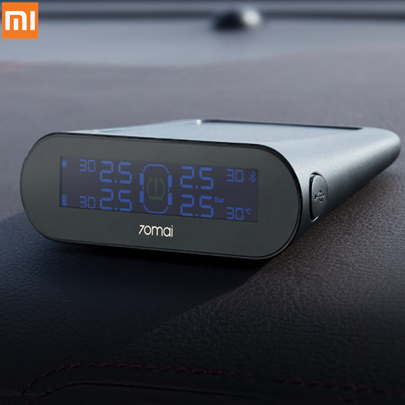 Xiaomi 70mai Tire Pressure Tester Monitor Solar Power 4 Built-in TPMS Sensors APP Control System Alarm with Car Gauge Sensor image