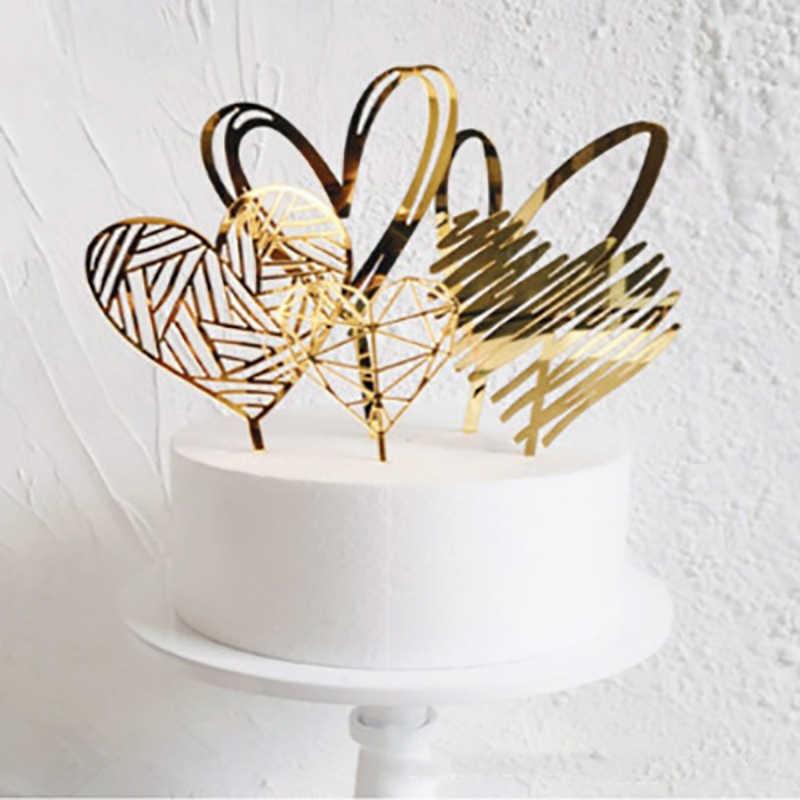 Decoração acrílica da sobremesa do topper do bolo da coleção do coração da prata do ouro para presentes encantadores da festa de aniversário