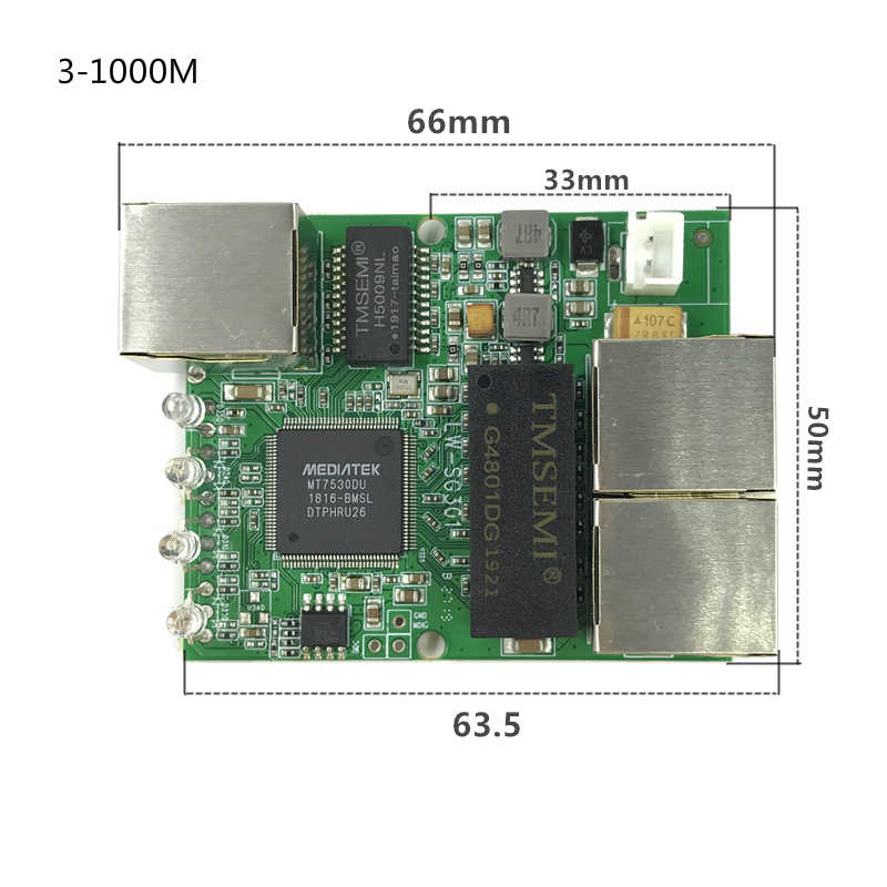 3/4 porte switch Gigabit modulo è ampiamente usato in linea del LED 10/100/1000m di contattare porta mini modulo switch PCBA Scheda Madre