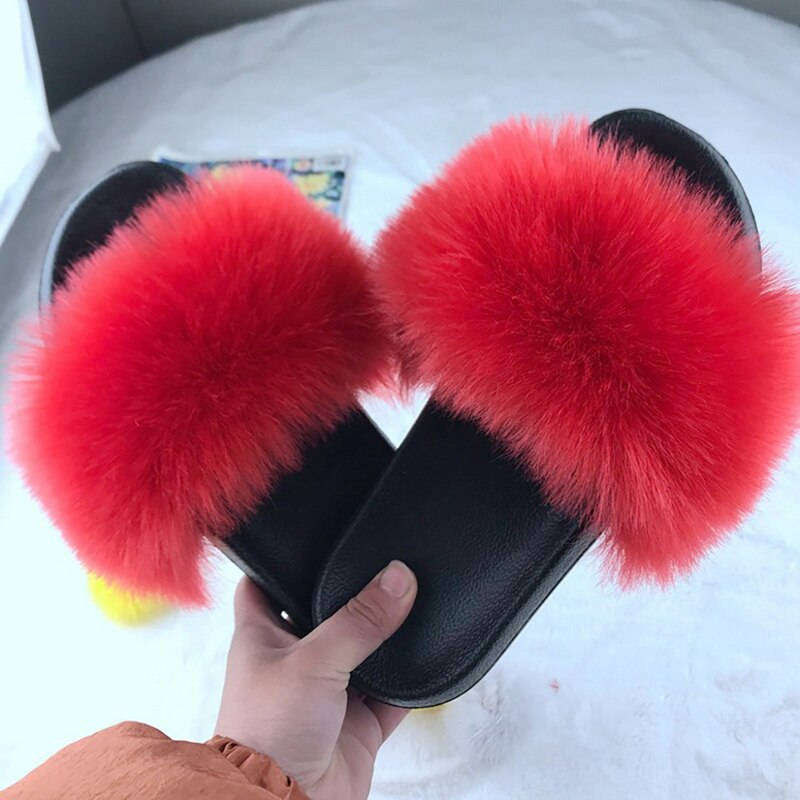 2020 Women Home House Indoor Slippers Women Furry Slippers Ladies Shoes Cute Plush Fluffy Sandals Women's Fur Casual Slippers
