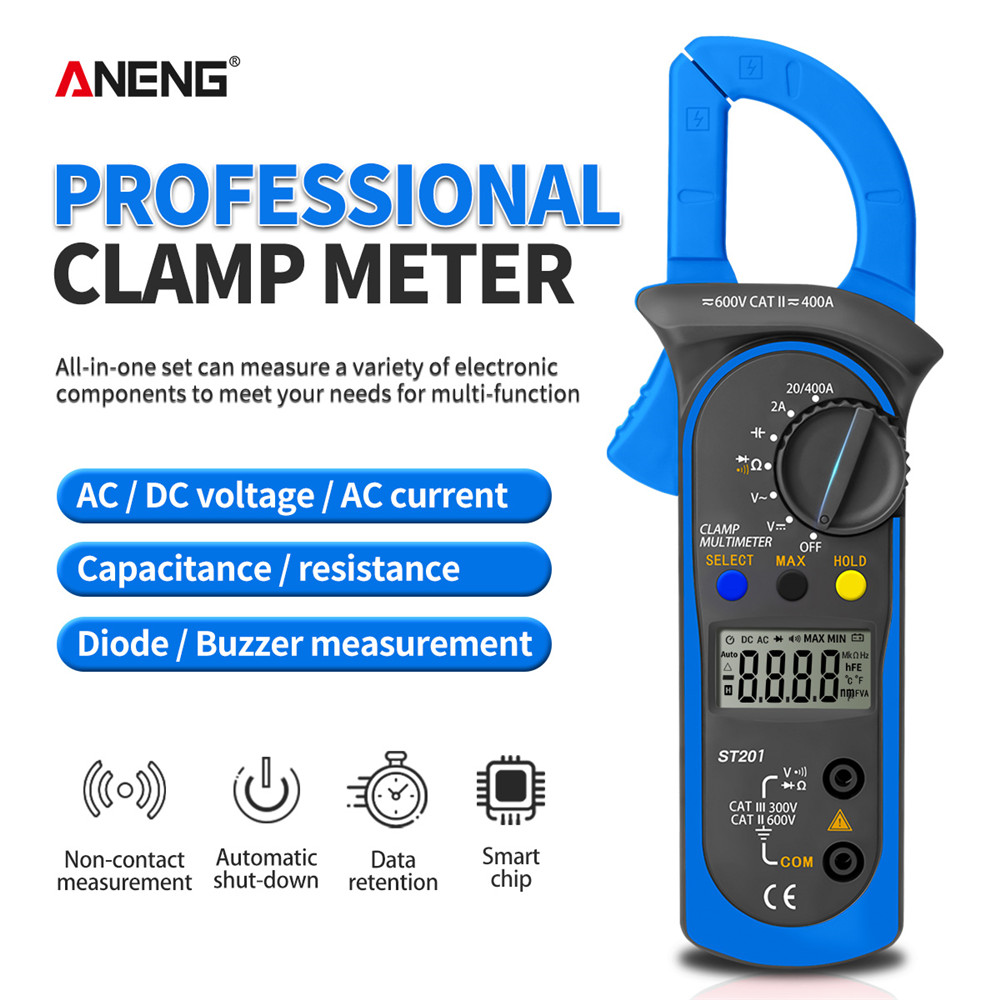 ANENG ST201 Digital Multimeter Clamp Ammeter Transistor Tester Capacitor Tester Power Test Automotive Voltage Tester