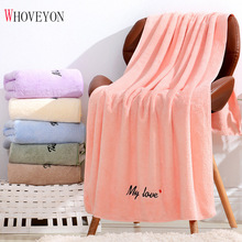 High Quality Coral Velvet Adult Bathroom Towel Large Bath Towel Thick Towel Couple Letter Gift Bath Towel Serviette De Bain