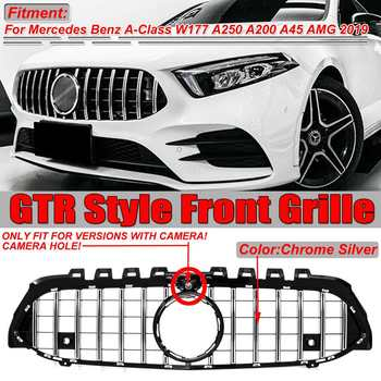 High Quality W177 GT Grill GTR Front Bumper Racing Grille Grill For Mercedes A-Class W177 A250 A200 A45 For AMG 2019 With Camera