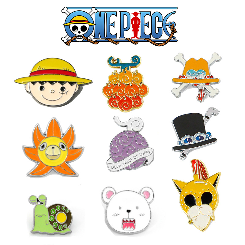 ONE PIECE Cosplay Props Luffy Den Den Mushi Brooch Alloy Bepo Brooches Handbag Badges On Backpack Pins