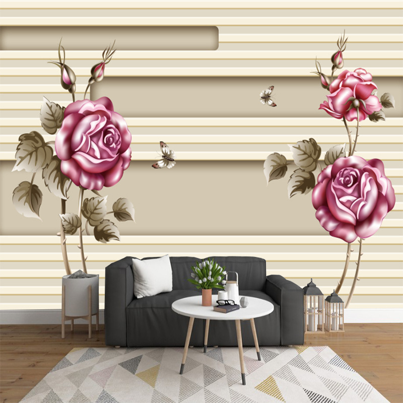 5D Mural TV Background Wallpaper Living Room Modern Minimalist 3D Rose Silk