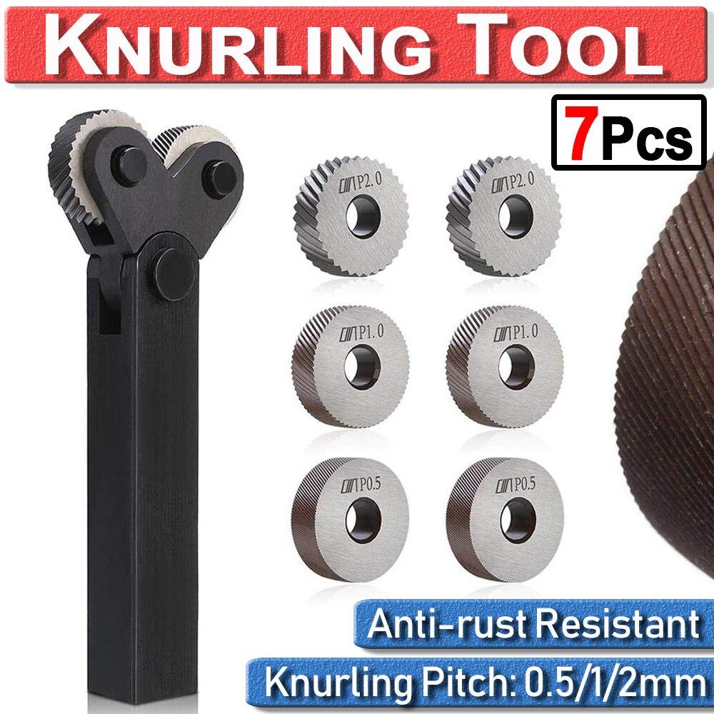 Dual Wheel Knurling Tool Kit 7pcs 0.5mm 1mm 2mm Diagonal Wheel Linear Pitch Knurl Set Steel Lathe Cutter Wheel Knurling Tool Set
