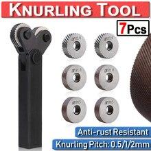 цена на Dual Wheel Knurling Tool Kit 7pcs 0.5mm 1mm 2mm Diagonal Wheel Linear Pitch Knurl Set Steel Lathe Cutter Wheel Knurling Tool Set