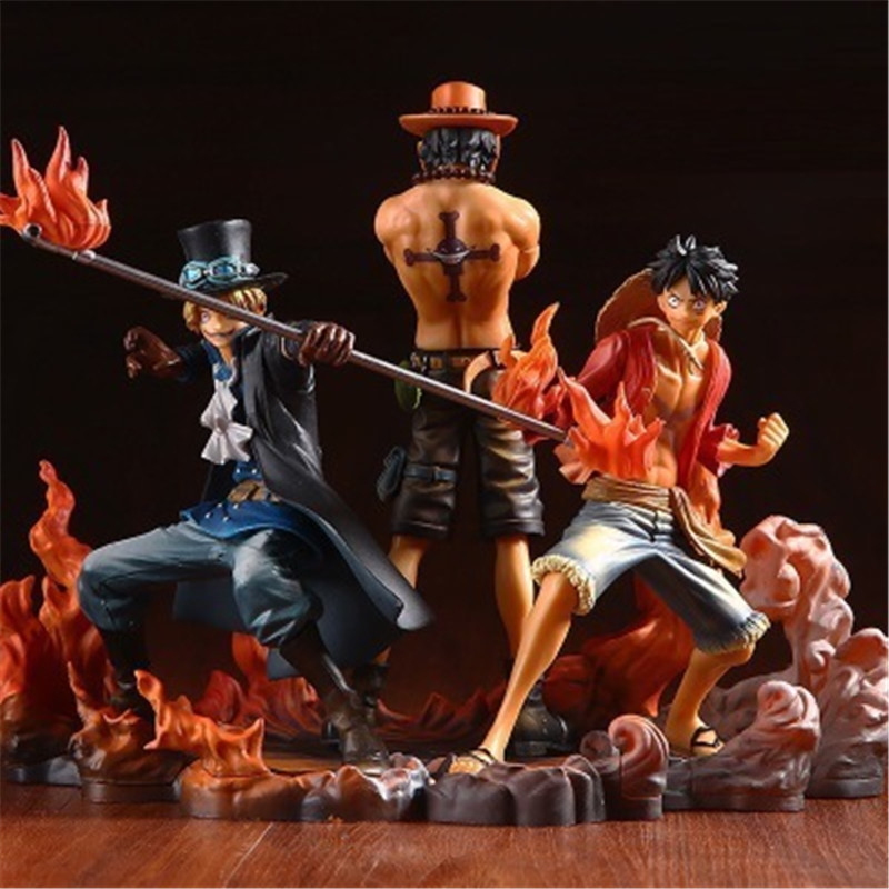Anime <font><b>One</b></font> <font><b>Piece</b></font> DXF BROTHERHOOD <font><b>Luffy</b></font> Sabo Ace PVC Action 14-17CM Figure Collectible Model Toy Figurine Kids Gift Doll 3pcs/set image