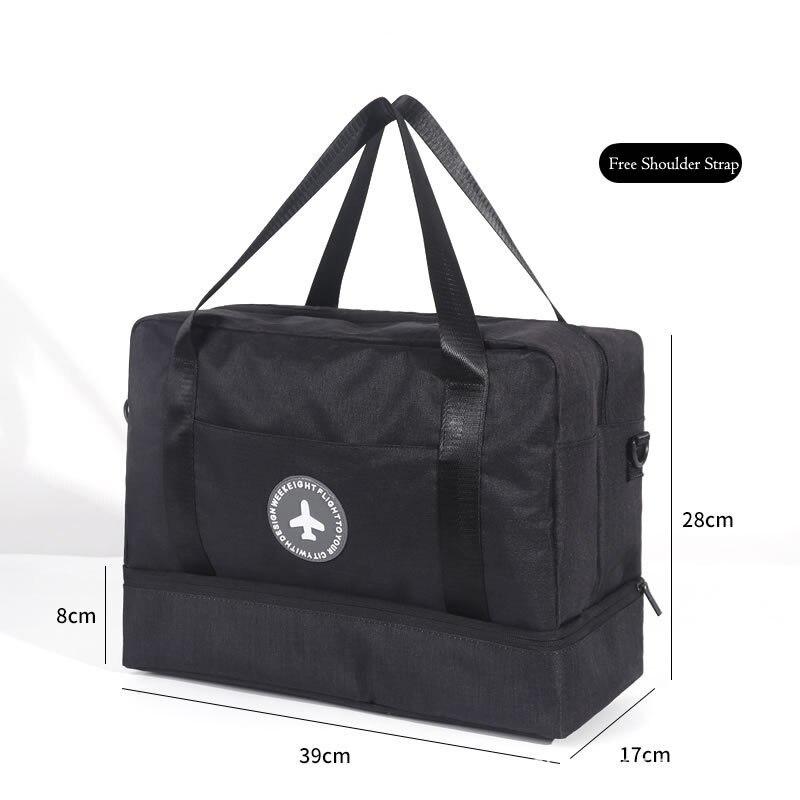 Hylhexyr водонепроницаемая обувь сумки большой емкости Оксфорд молния путешествия вещевой мешок одежды с разделителем для сухого и влажного сумки пакет для пляжа - Цвет: Черный