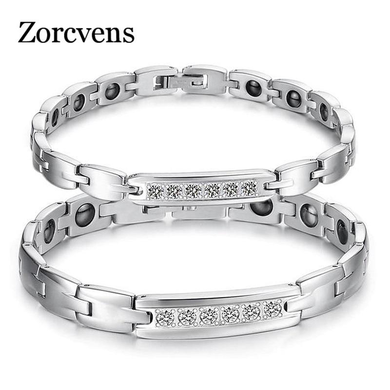 Modyle Jewelry Couple Healthy Bracelet Healing Stainless Steel Magnet Stone Bracelets CZ Women Men Jewelry