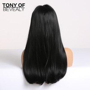 Image 4 - ארוך ישר שיער שחור עם פוני סינטטי פאות לנשים אפריקאי אמריקאי טבעי יומי שיער פאות חום סיבים עמידים