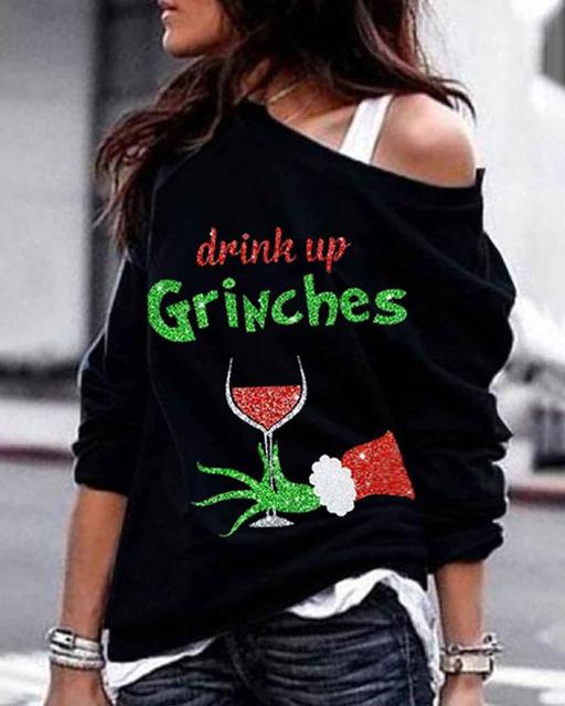 Women Fashion Casual Long Sleeve Tops Blouse Feamle  Christmas Grinches Glass Wine Print Design 2XL Plus size Sweatshirt Tops 1