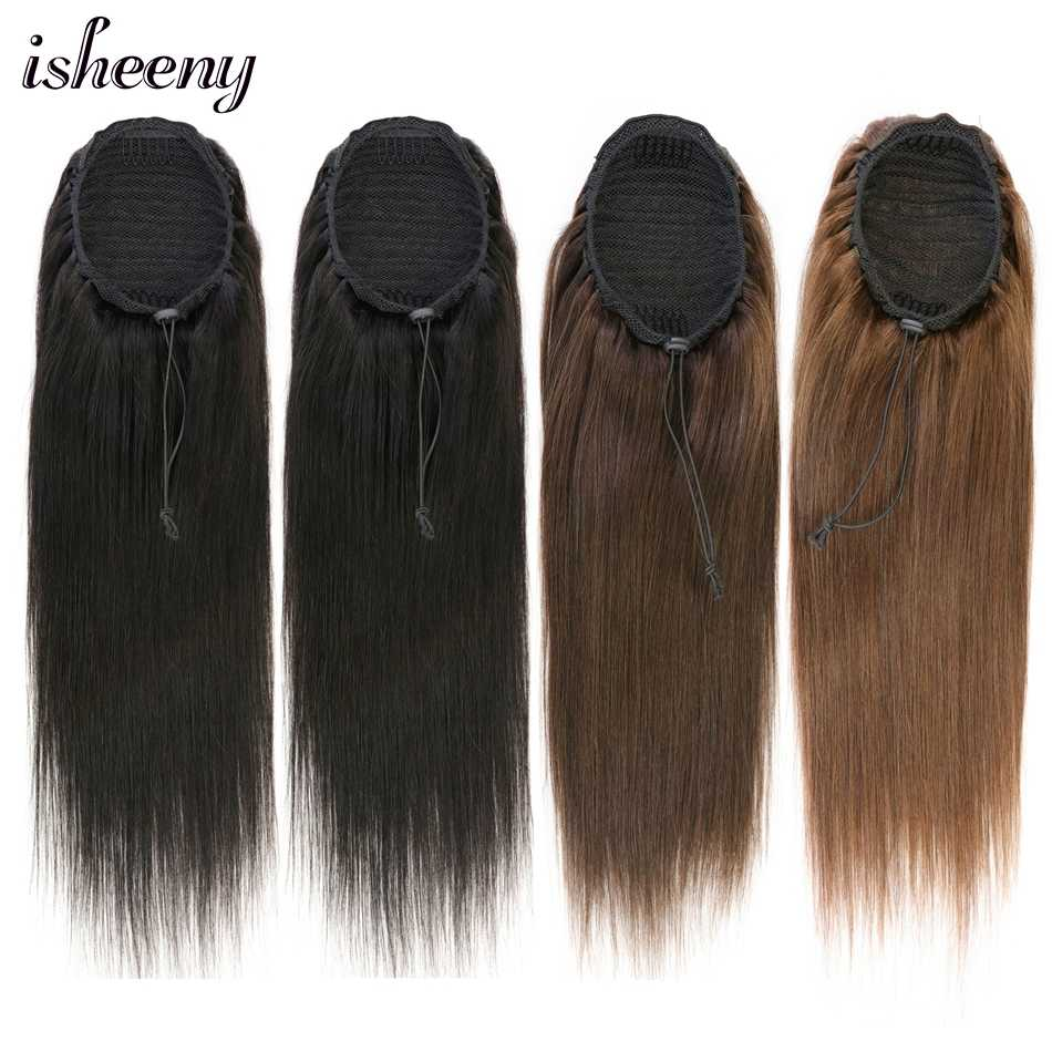 "Isheeny 20"" Straight Ponytail Human Hair Drawstring Ponytail With Clips in Black Brown Pony Tail 100G For Women"