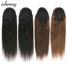 Ponytail Human-Hair Isheeny Straight with Clips in Black Brown 100G for Women 20-Drawstring
