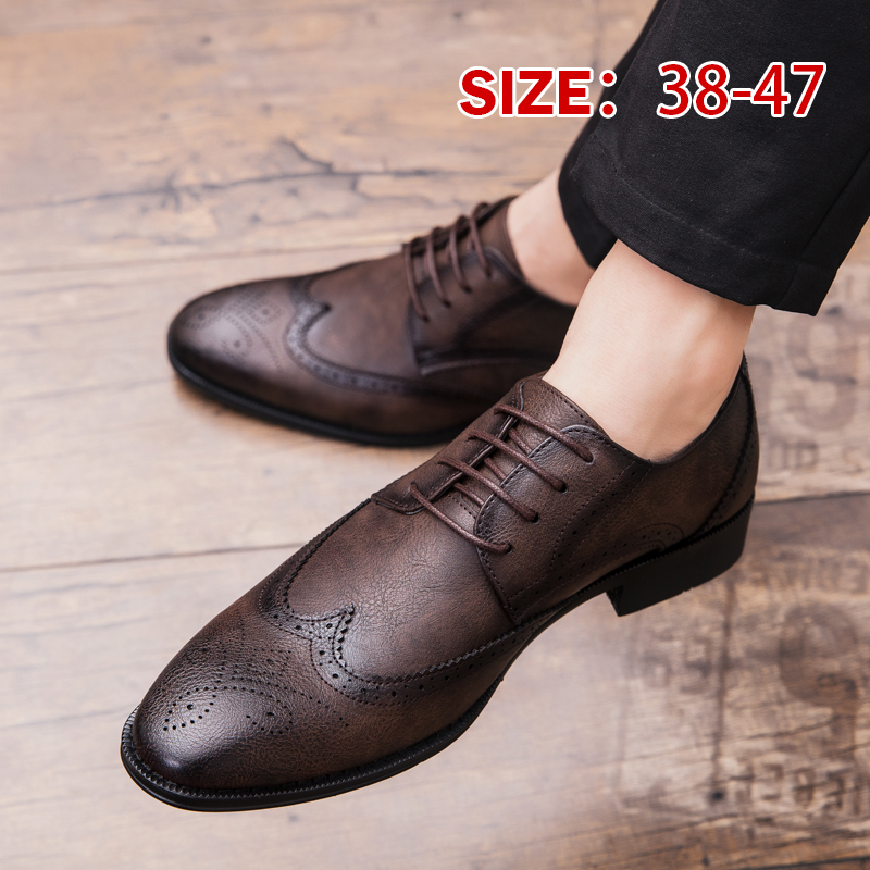 Mens Oxford Korea British Lace Up Pointy Formal Toe Slip On Style Business Shoes