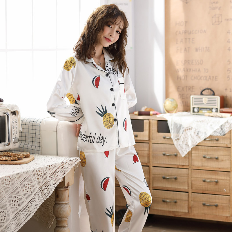 Spring And Autumn Long Sleeve Trousers White Pineapple Fold-down Collar Model Silk Pajamas Women's Suit