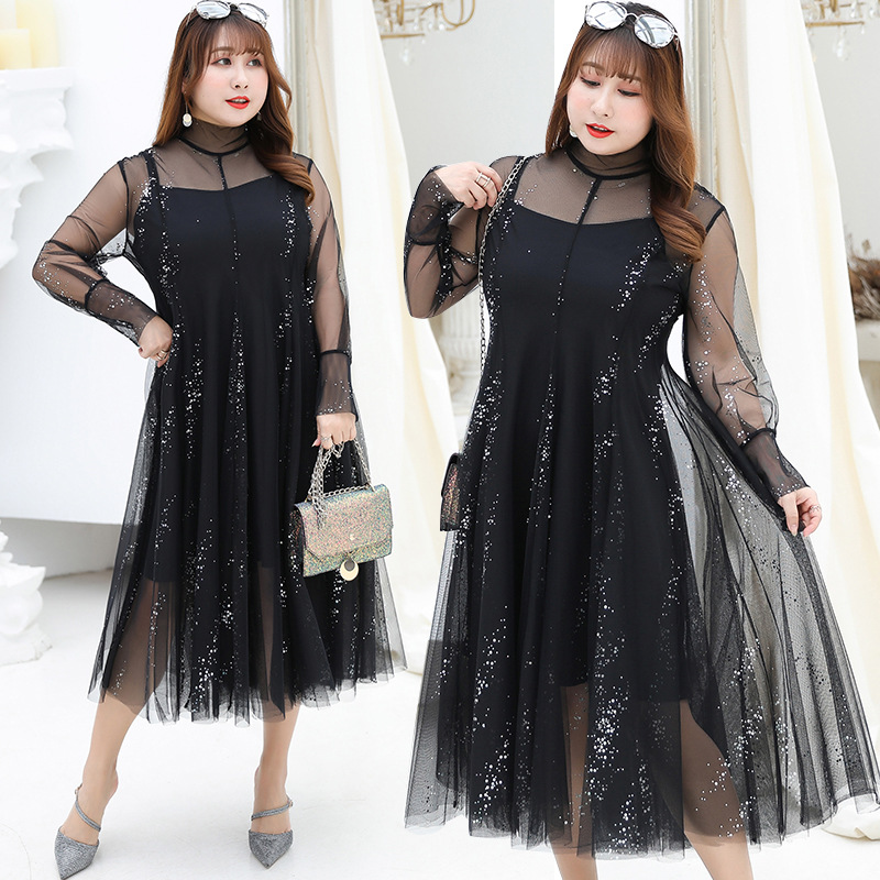 2019 Autumn Clothing New Style Plus-sized WOMEN'S Dress Fat Mm Sequin Mesh Dress Two-Piece Set On Behalf Of 6818