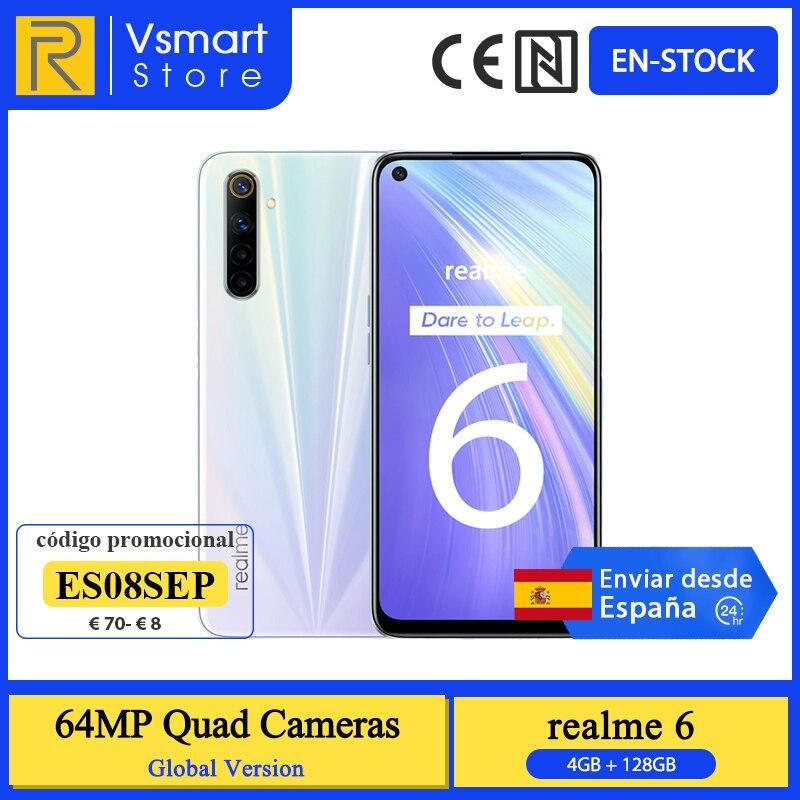 Version mondiale Realme 6 Smartphone 4GB 128GB 6.5 90Hz affichage 64MP Quad caméras Helio G90T 4300mAh 30W charge rapide