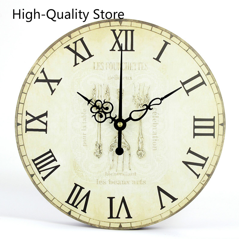 Retro European Mute Needle Dining Room Decoration Clock Wall Dial Waterproof Single Face Ancient Style Kitchen Decor Wall Clock