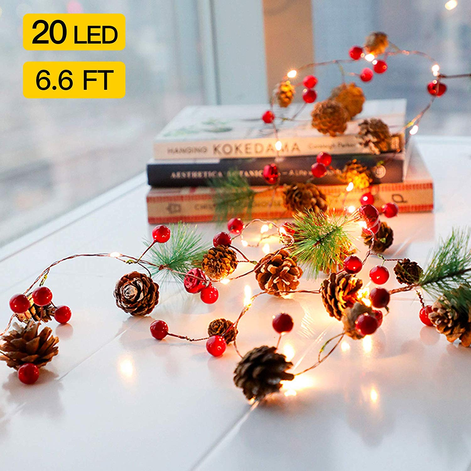 Christmas Pine Cone Led String Light Decor Pinecone Christmas Tree Deer Lights Garland Lights For Winter Holiday New Year Decor