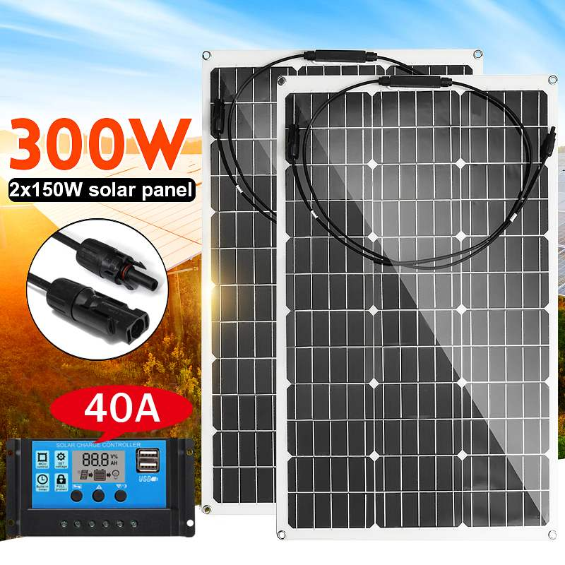 Semi-flexible Solar Panel 300W 18V Monocrystalline Solar Cell DIY MC4 Cable Outdoor Waterproof Battery Charger+40A Conrtoller
