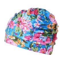 Разноцветные плиссированные с рюшами для женщин, мужчин и взрослых, Полиэстеровая шапочка для плавания с цветочным принтом в полоску, большая шапочка для плавания, защитная шапочка для ушей