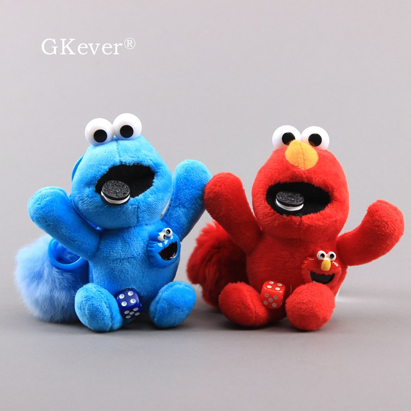 Sesame Street Elmo Lovely Cookie Monster Plush Keychin Mini Kawaii Soft Dolls Children Gift 14 Cm