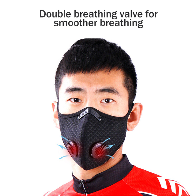 1Pcs Double Air Valve PM 2.5 Dust Mask Anti Dust Mask Anti-Bacterial Activated Carbon Filter Anti Pollution Mask Flu-proof Mask 2
