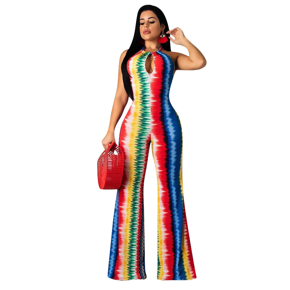Adogirl Tie Tye Print Stripe Halter Jumpsuit Hollow Out Backless Summer Fashion Casual Romper Wide Leg Pants Female Overalls