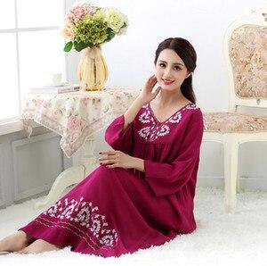 Image 5 - Spring and Autumn Sleepwear Womens Cotton Long Nightgown Loose Comfortable Nightwear Long Sleeve Night Dress Women Sleepshirts
