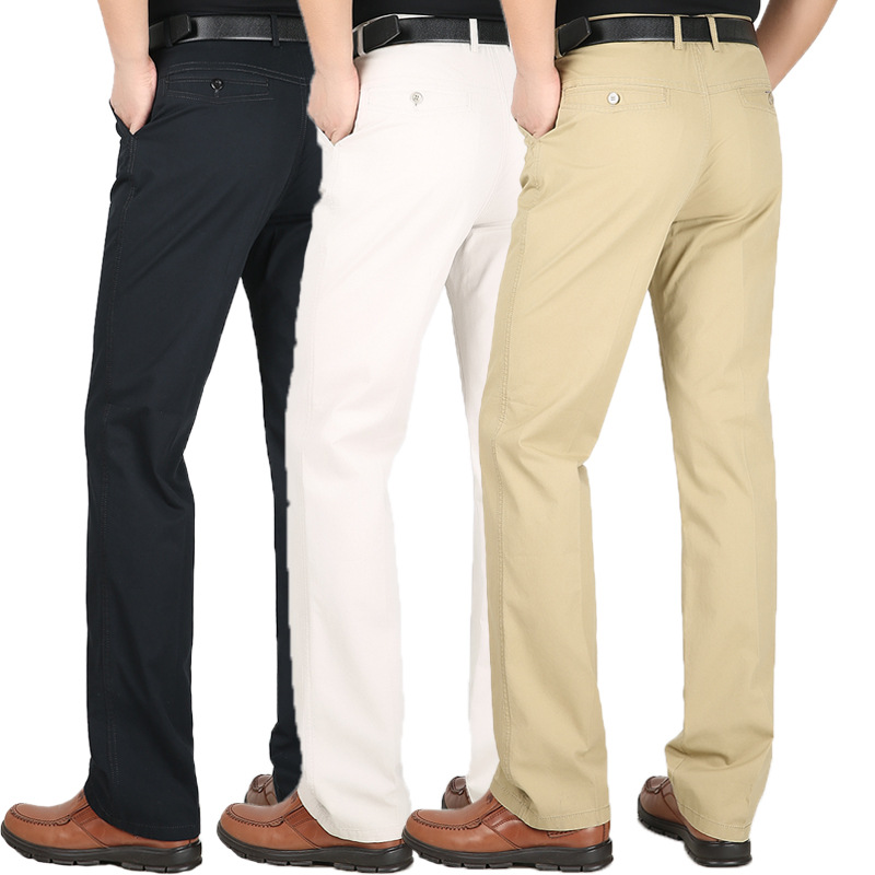 Men's Suit Pants Spring Summer Cotton Thin Loose High Waist Men Trousers High Quality Dress Pants Straight Business Plus Size 44