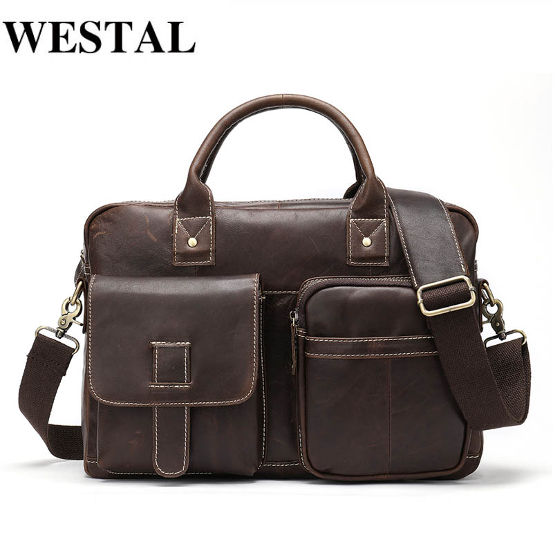 WESTAL Men's Briefcase Men's Genuine Leather Bag Male Laptop Bag Leather Briefcases Men Office Bags for Men Computer Bags|Briefcases| - AliExpress