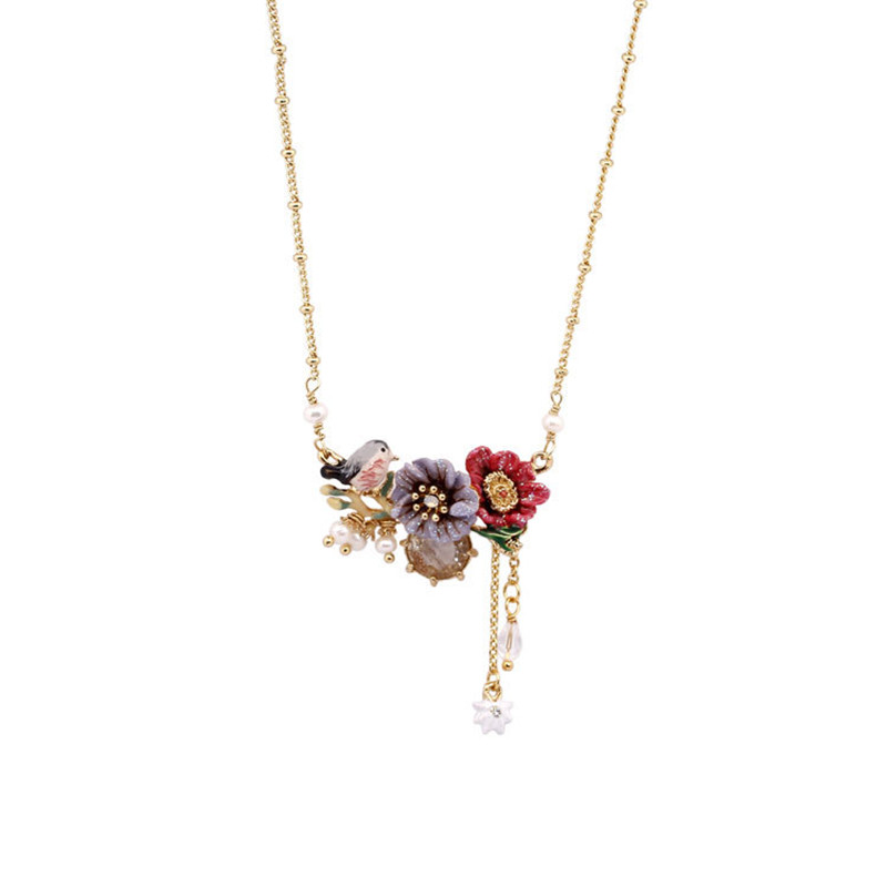 Winter Garden Series Hand-painted Enamel Peony Flower Gem Pearl Bird Flower Necklace Trend Women's Clavicle Chain